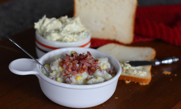 Chowder with gluten free bread