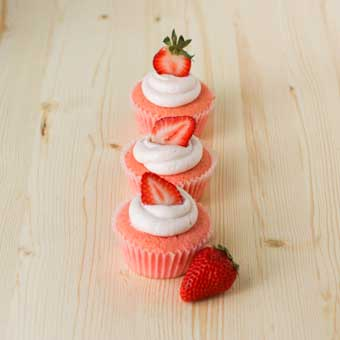 Strawberry Cupcake on the left